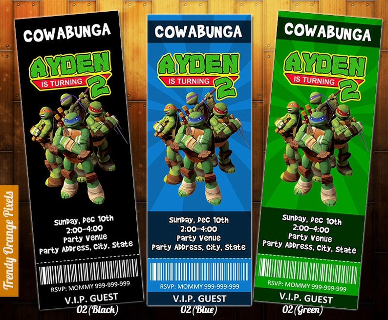 Teenage Mutant Ninja Turtle Invitation TMNT Ticket Invite