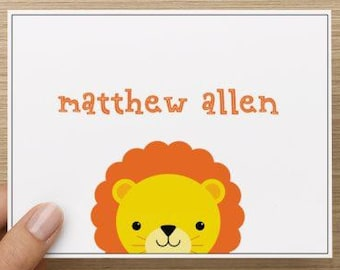 Baby thank you card: Personally designed baby boy shower thank you card!  Baby lion and name. Multiple pack sizes available!