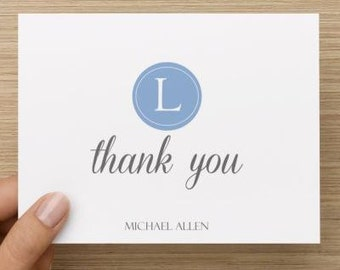 Baby thank you card: Personalized and personally designed baby boy baby shower thank you card!  Monogrammed. Packages of 10, 20, or 30