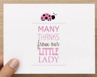 Baby thank you card: Personally designed baby girl shower card.  Lady bug.  Multiple pack sizes available.