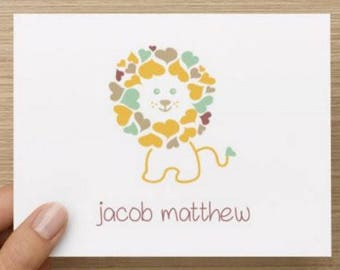 Baby thank you card: Personalized and personally designed unisex baby shower thank you card!  Baby lion. Multiple pack sizes!