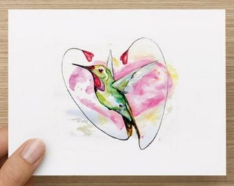 Valentine's Day: Watercolor hummingbird heart card.  Personally designed.  Multiple pack sizes available.