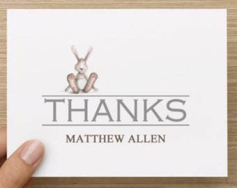 Baby thank you card: Personally designed unisex baby shower thank you card with baby rabbit! Personalized.  Multiple pack sizes available.