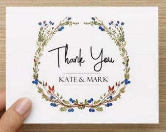 Bridal Shower Thank You Card.  Thank you with simple wreath.  Personalized.  Multiple pack sizes available!
