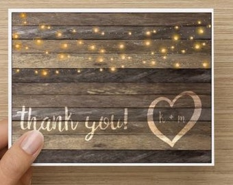 bridal shower thank you card rustic thank you card personalized multiple pack sizes available