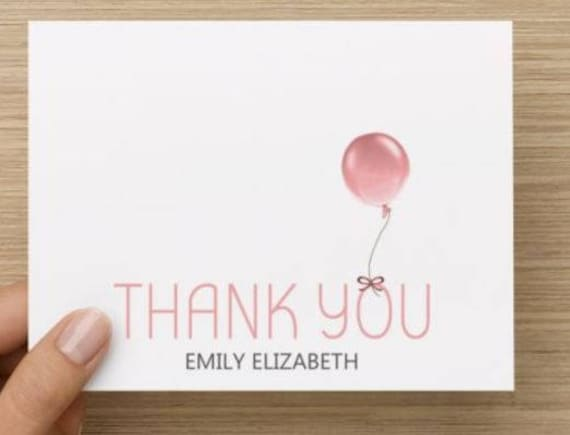 Baby Girl Thank You Card Personally Designed Thank You With Etsy