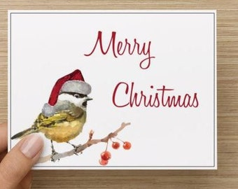 Christmas Card. Watercolor chickadee with santa hat.  Pack of 10, 20, 30, or 40