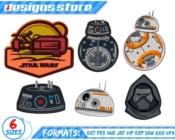 STAR WARS APPLIQUE Embroidery BB8 BB9E Kylo Ren Rey Design Machine Designs Star  Wars 8e58372b11