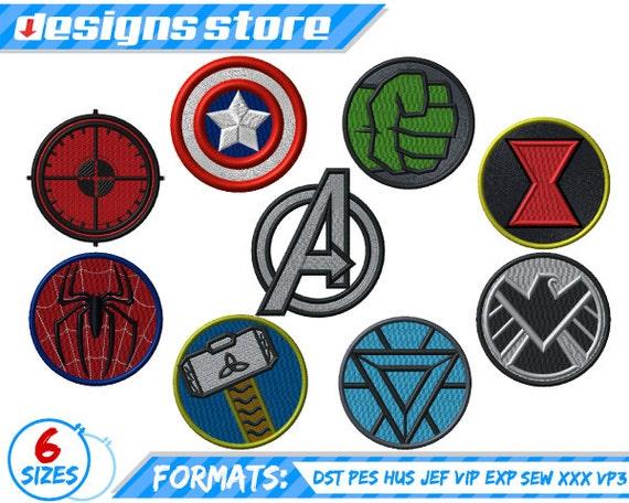 Superhero Embroidery Design Avengers Embroidery Hulk Etsy