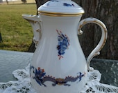 Meissen, Germany - Antique - Rare Discontinued MING DRAGON BLUE Red Dot Accents, Gold Trim - 5 Cup Coffee Pot 321910 - Clean Crossed Swords