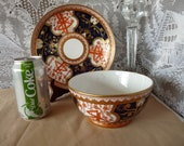 Spode - Made in England - Japanese Imari quot Dollar or Money quot pattern 715 - Regency period c.1805-1808 - large WASTE BOWL w 8.25 quot SAUCER Plate