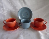 HOMER LAUGHLIN FIESTA Contemporary 6pc (3 sets) Periwinkle Blue Paprika Orange Replacement Cups and Saucer Sets - United States - Retired