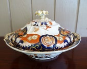 MASON 39 S Patent Ironstone China, England c.1825 - Asian Imari Chinoiserie period - Fence Vase Doves pattern COVERED Vegetable DISH