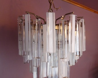 Exquisite Murano - Mid-Century - White & Clear CRYSTAL GLASS PRISMS - Italian Chandelier Ceiling Hanging Light