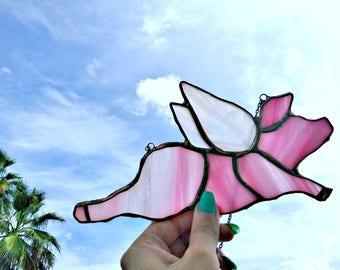 When Pigs Fly, Stained glass pig, piggy, suncatcher, home decor, nursery decor, garden decor, bohemian decor, animal decor, wings, angel
