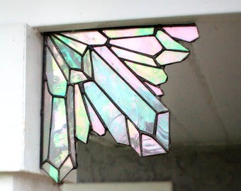 Aura Quartz Crystal Cluster corner piece, crystal clusters, stained glass, crystals, quartz, home decor, unique gifts,glass art,garden decor