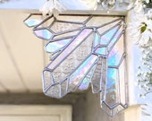 Clear Glass Crystal, crystal corner piece, stained glass, geology, home decor, patio decor, garden decor, crystals, aura, oddities