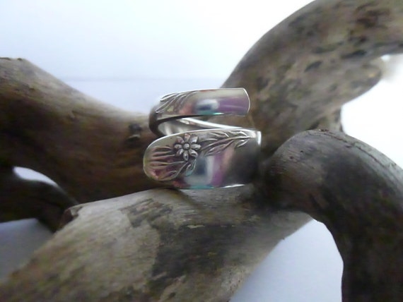 Stunning Spiral Vintage Spoon Ring UK Size L Silver Ring