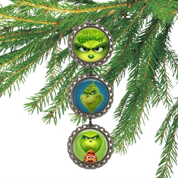 The Grinch Christmas Tree Movie.The Grinch Movie 3d Bottle Cap Christmas Ornament Gift For Kids Stocking Stuffer
