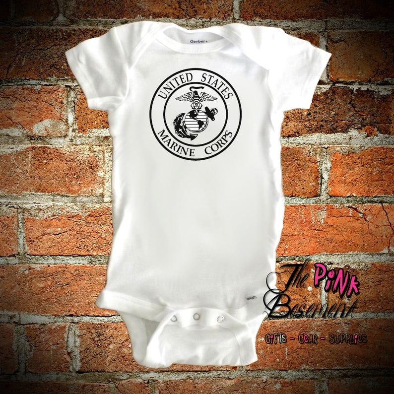U.S Marines Baby Onesie Shirt Shower Gift Military Newborn Clothes Gerber