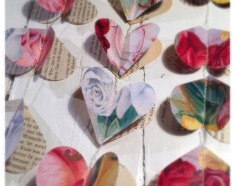 Flower Garland / Home decor / wedding decor / wedding backdrop / Gift for her / Girls room / Heart Garland
