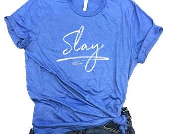 Slay Unisex Relaxed Fit Royal Triblend Tee
