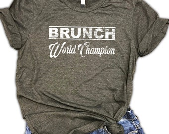 Brunch World Champion Unisex Relaxed Fit Dark Gray Soft Blend Tee - shenanigans -drinking shirt - day drinking - tomfoolery - mimosa