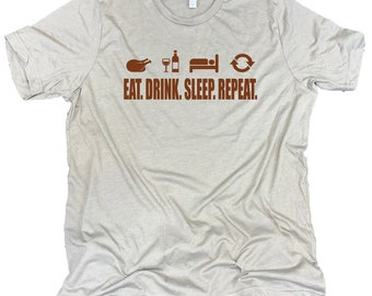 Eat Drink Sleep Repeat Men's Funny Thanksgiving Feast Unisex Stone Gray Triblend Tee