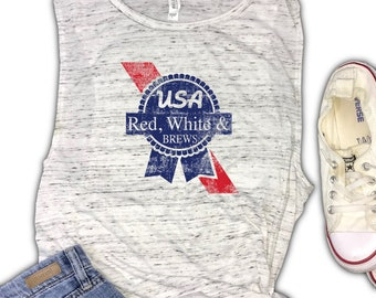 80960a80 USA Muscle Tank - 4th of july tank top - Red white and brews - patriotic