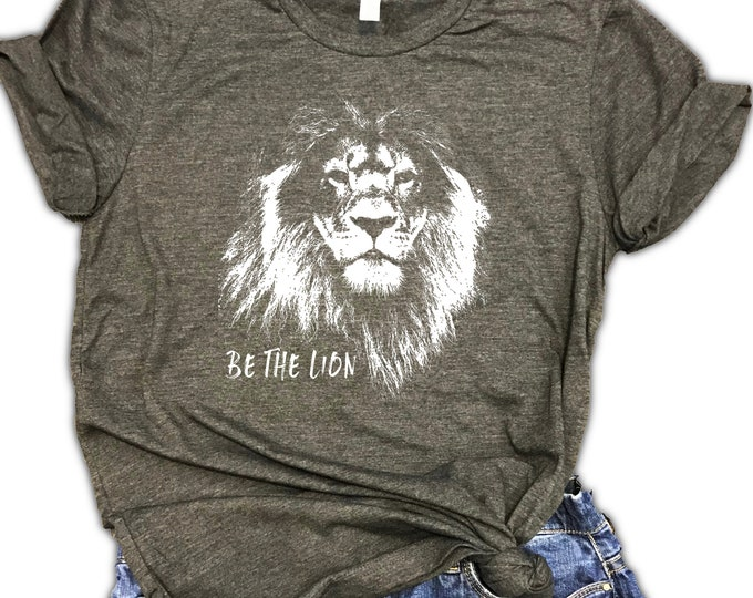 Featured listing image: Be The Lion Unisex Relaxed Fit Dark Gray Soft Blend Tee - Motivational shirt - Workout shirt - Gym Shirt - Workout gift
