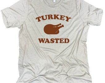 Turkey Wasted Men's Funny Thanksgiving Feast Unisex Stone Gray Triblend Tee