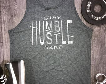 Hustle mens workout tank... stay humble, mens gym tank, motivational tank, gym tank for men, workout tank for men, tank tops for men