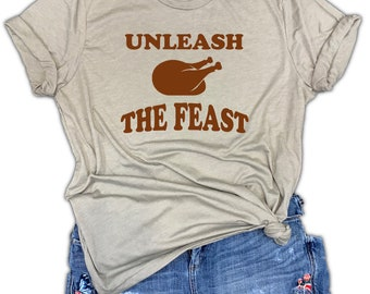 Unleash The Feast Funny Thanksgiving Turkey Unisex Stone Gray Triblend Tee