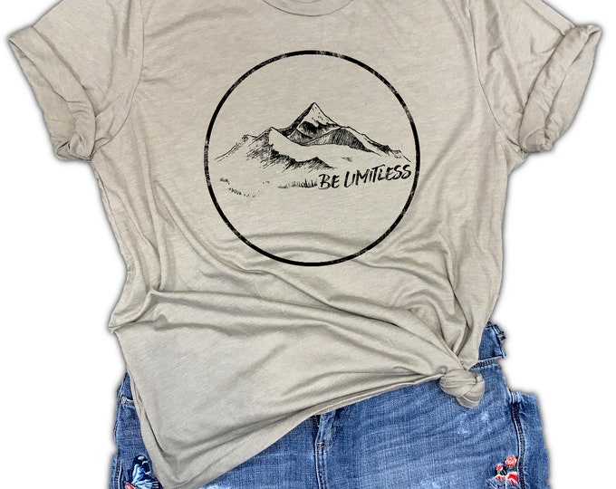 Featured listing image: Motivational Be Limitless Mountain Unisex Relaxed Fit Stone Gray Soft Blend Tee - hiking shirt - camping shirt - nature shirt -inspirational