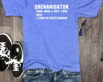 let the shenanigans begin, shenanigator mens shirt, day drinking shirt, shenanigans shirt for men, mens bachelor shirt, funny drinking shirt