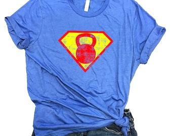 2a94c08ba8ee5 Superhero Kettlebell Workout Unisex Relaxed Fit Royal Soft Blend Shirt -  Workout shirt - workout gift - lifting shirt - gym shirt