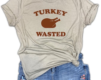Thanksgiving Turkey Wasted Funny Unisex Stone Gray Triblend Tee