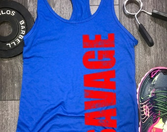 savage racerback tank top, womens workout tank, savage tank, savage tank womens, gym tank, womens lifting tank, fitness shop, running tank