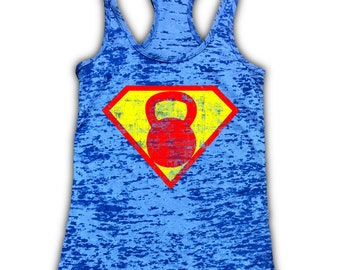 Superhero Kettlebell Burnout Racerback Workout Tank - Gym Tank - Fitness Tank