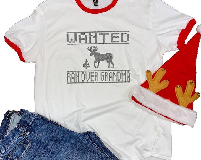 Featured listing image: Grandma Got Run Over by a Reindeer Unisex Ringer Shirt - Mens Christmas Shirt - Christmas Party - Christmas Songs - Reindeer Shirt