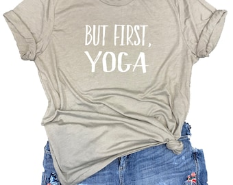 But First Yoga Unisex Relaxed Fit Stone Gray Triblend Tee