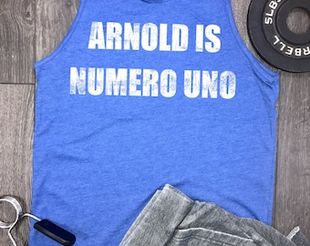 arnold is numero uno mens tank, mens workout tank, mens funny workout t shirt, funny workout apparel, workout clothing, arnold tank top