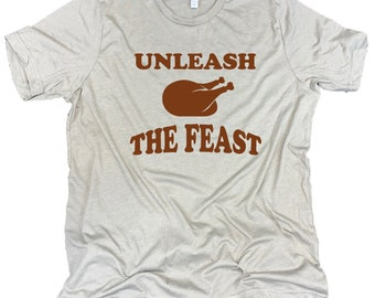 Unleash The Feast Men's Thanksgiving Turkey Unisex Stone Gray Triblend Tee