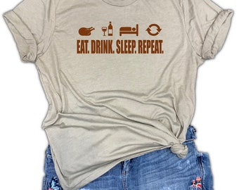 Eat Drink Sleep Repeat Funny Thanksgiving Feast Unisex Stone Gray Triblend Tee