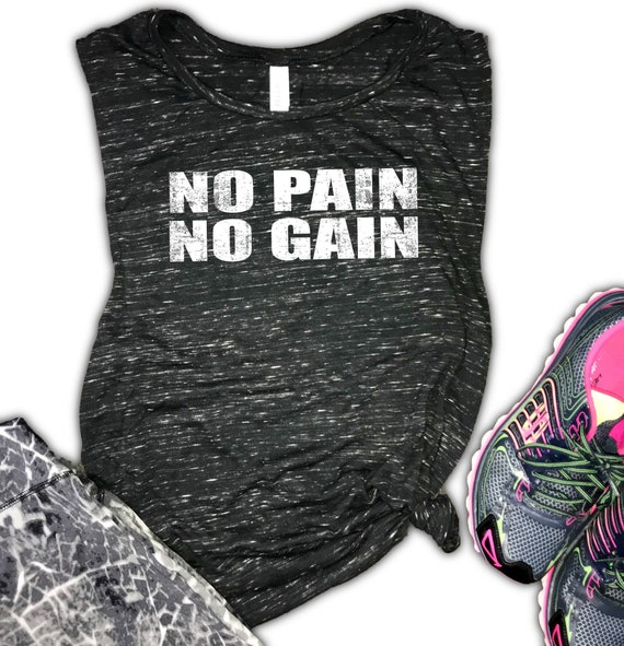 Shirt Womens Racerback Inspiration No Pain No Gain Kettlebell Workout Tank Top Gym Motivation
