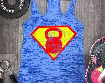 Superhero Kettlebell tank, womens workout tank, workout tank womens, womens gym tank, gym tank womens,kettlebell tank, best workout tank
