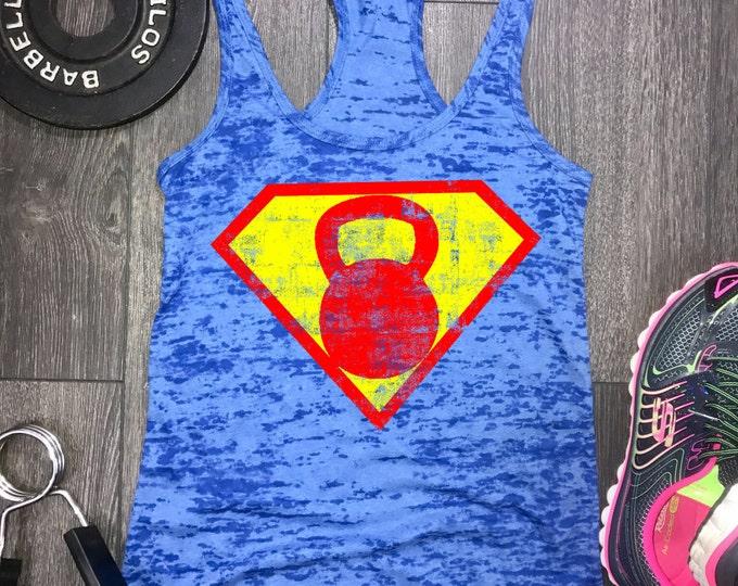 Featured listing image: Superhero Kettlebell tank, womens workout tank, workout tank womens, womens gym tank, gym tank womens,kettlebell tank, best workout tank