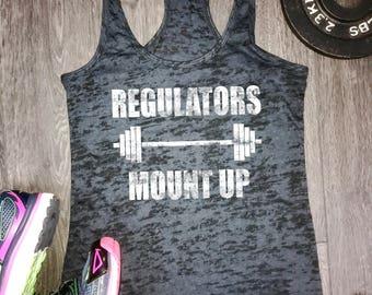 Regulators mount up womens burnout workout tank, regulators workout tank, barbell workout tank, burnout workout tank, rap lyrics workout top