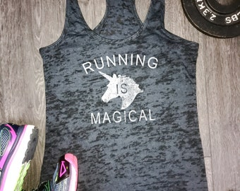 funny running shirt, running tshirt, running tank, gift for runner, running unicorn, running is magical, 5k tank, marathon, half marathon