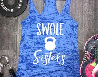 swole sisters womens burnout workout tank, gym tank, best workout tank, workout tank top, swole tank, swole tank, gym tank top, yoga tank